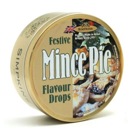Mince Pie Flavour Drops - Festive Limited Edition Simpkins Traditional Travel Sweets Tin 200g